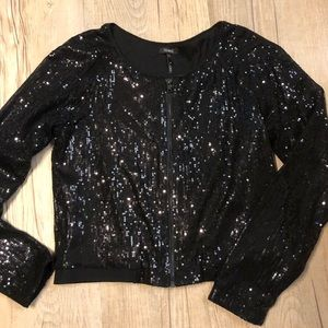 Black Sequin Cropped Jacket